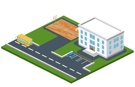 Isometric 3D concept illustration school with basketball field. The car parked in front of the building. School bus goes past college of higher education
