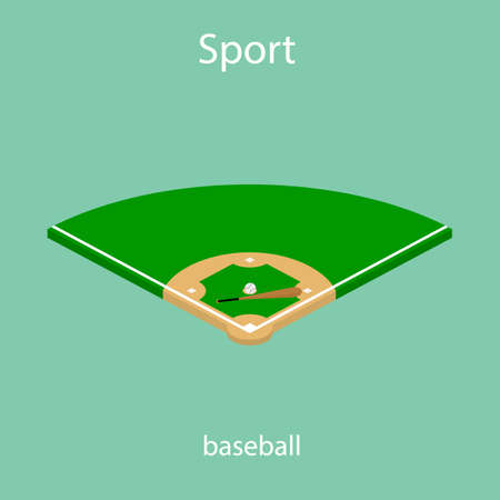 Isometric 3D Sport baseball field vector icon green