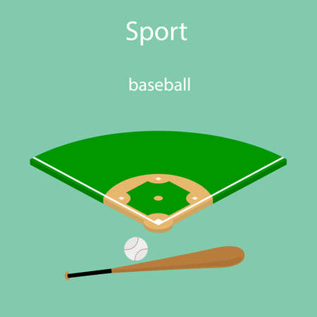 Isometric 3D Sport baseball field vector icon Illustration