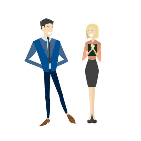 couple diverse business people on white background. Cute and simple flat cartoon style. Illustration
