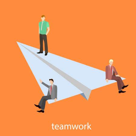 Teamwork startup isometric vector illustration 3D business Illustration