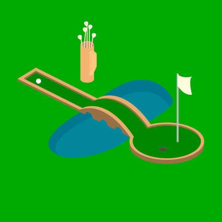 Golf sport isometric icon vector Isometric 3D