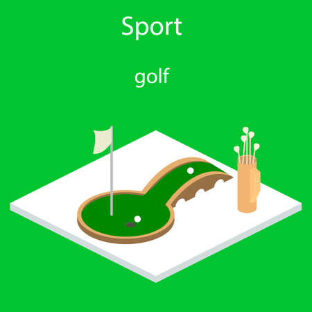 Golf sport isometric icon vector Isometric 3D