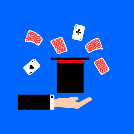 Magician shows the focus of the card in the hat flat vector illustration