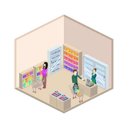 Grocery store isometric 3d vector illustration interior