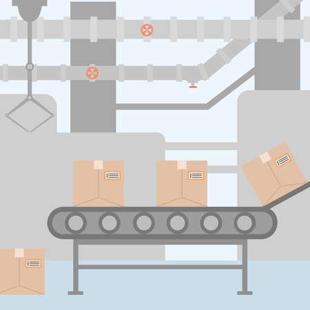 Conveyor system in flat design. Vector illustration Illustration