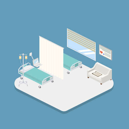 Isometric hospital design interior vector illustration 3D Illustration
