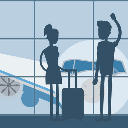 Waiting at the airport before traveling vector Illustration