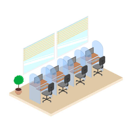 Isometric Office Cubicles. Work in the call center.