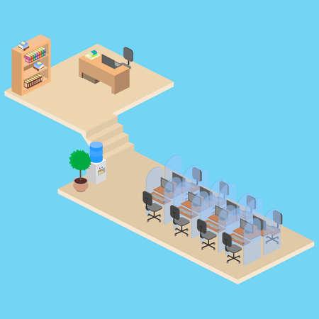 Cube de bureau isométrique. Travailler dans le centre d'appels.