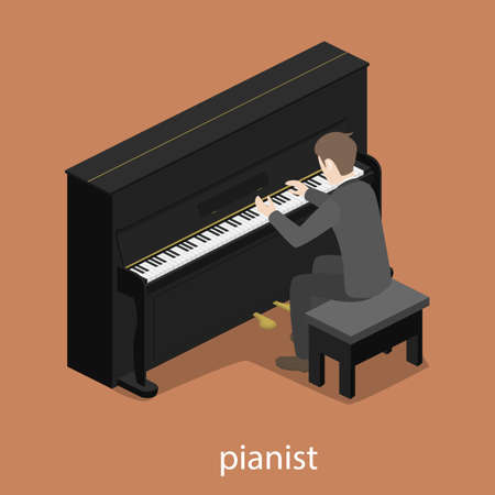 Pianist solo male piano 3d web isometric infographic concept vector