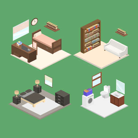 Set of interior isometric design a bedroom and bathroom vector illustration