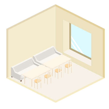 Isometric interior of coffee shop. flat 3D isometric design interior cafe or restaurant.
