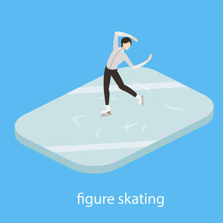 Figure male skater in ice vector illustration isometric