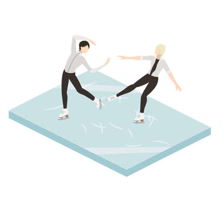 Figure two skaters in ice vector illustration isometric Illustration