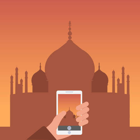 Vector illustration of human hands holding mobile phone, taking a photo - tourism, travel, landmarks. Illustration
