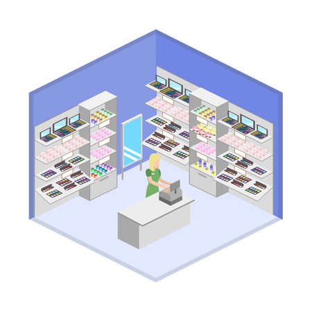 Isometric design interior of cosmetics shop with customers vector illustration