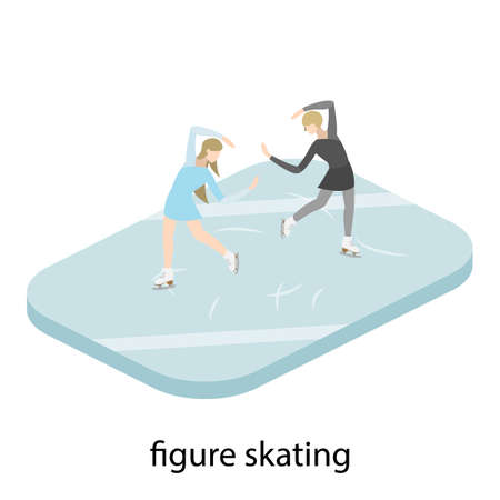 Figure skater in ice vector illustration isometric Illustration