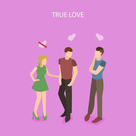 LGBT community is gay, real love in vector isometric illustration.