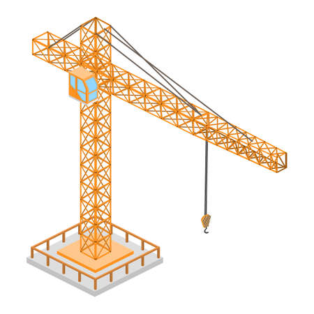 Isometric vector illustration a crane building.
