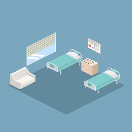 Isometric hospital design interior vector illustration 3D 向量圖像