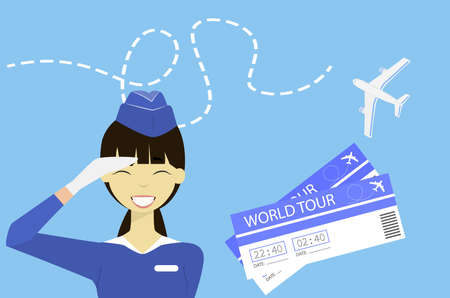 Flat vector illustration the flight attendant smiles and wished a successful way. Advertisement airlines. Traveling by plane.