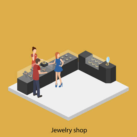 Isometric flat 3D concept vector illustration interior of jewelry store.