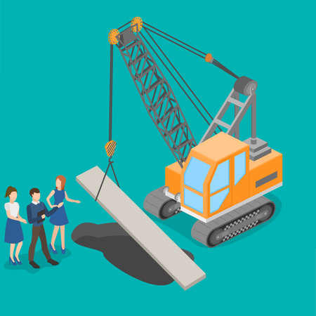 Isometric 3D vector illustration teamwork corrective.truck crane ,Construction of roads, construction and project management.