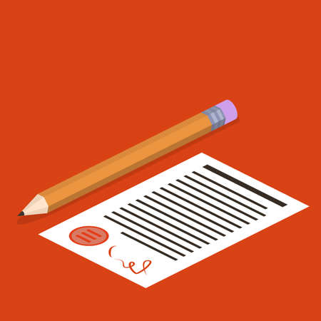 Isometric 3D concept vector illustration the concept of signing a contract with a pencil