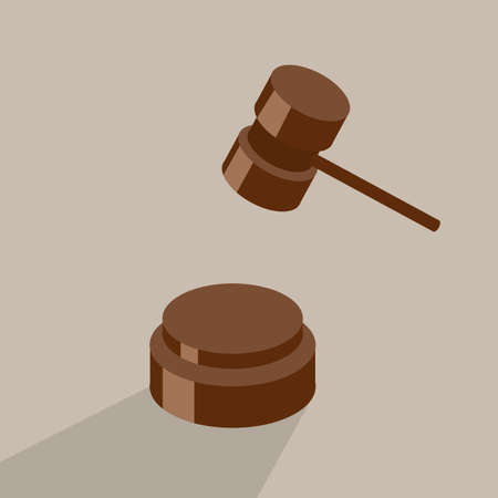 Isometric vector illustration auction and bidding concept. Judge hammer and sentencing.