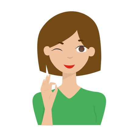 Leuke cartoon glimlachende vrouw, meisjes vectorillustratie Stock Illustratie