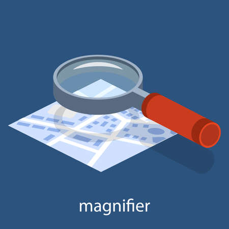 Isometric 3D vector illustration of magnifying glass. Magnifier. Approximation of the picture. Studying the map.