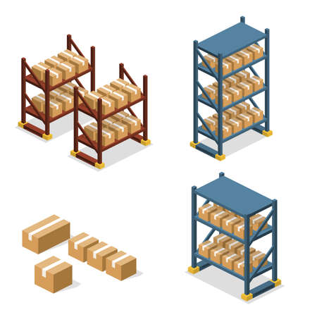 Icônes d'entrepôt isométrique vecteur vecteur illuctration concept avec des boîtes. Ensemble d'objet