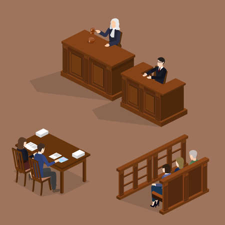 Isometric 3D vector illustration concept the judge conducts the trial. The lawyer protects the defendant. Hall of jury endure verdict. Set of object