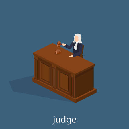 Isometric 3D vector illustration the judge conducts the trial. The hammer, the judge's wig, the table.  イラスト・ベクター素材