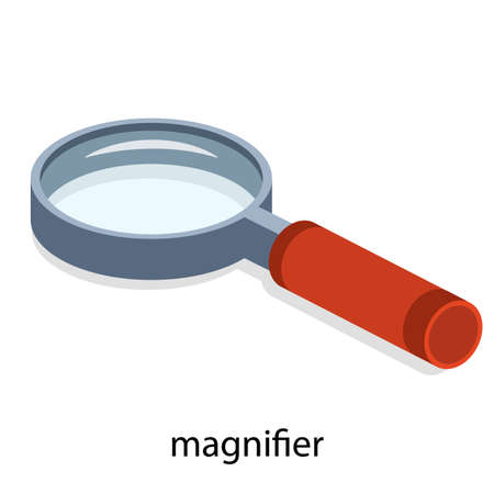 Isometric 3D vector illustration of magnifying glass. Magnifier to increase the image. Approximation of the picture. Studying the map.