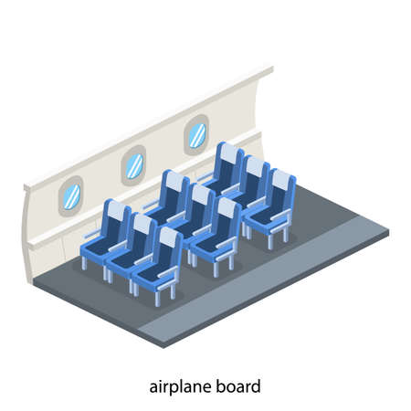 Isometric 3D vector illustration concept interior inside the plane with empty armchair