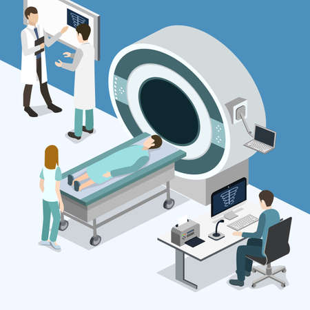 Isometric 3D vector illustration MRI scanner for patients. Diagnosis and search for the disease with magnetic radiation. The doctor scans the patient with magnetic resonance imaging Illustration