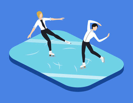 Isometric 3D vector illustration skaters ride on ice