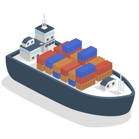 Isometric 3D vector illustration A cargo ship delivers heavy containers of goods.