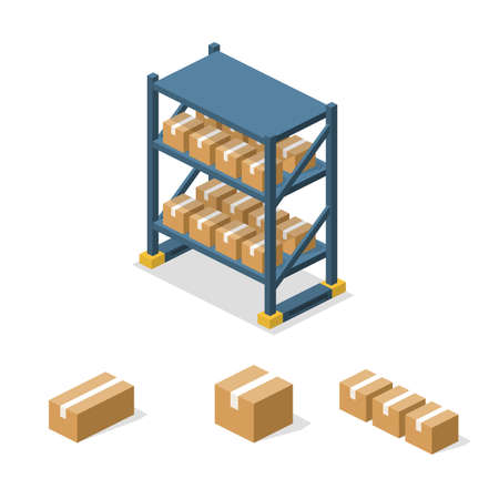 Isometric 3D vector illuctration concept warehouse shelves with boxes. Set of object