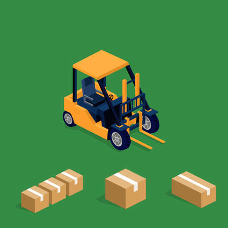 Isometric 3D vector illuctration forklift truck transportation