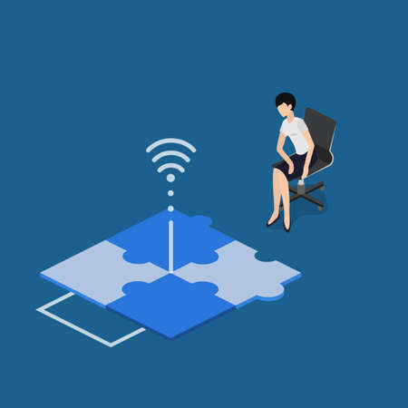Isometric 3D vector illustration concept communication via the Internet. The guiding person is watching the order. Contactless communication of employees. Observation at a distance.