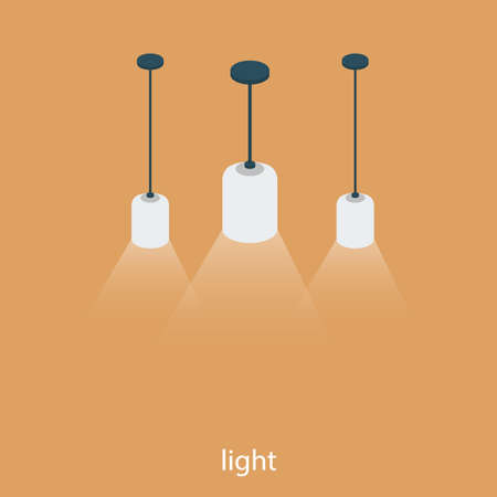 Isometric 3D vector illustration concept of bright fixtures. White light. Three hanging lamps.