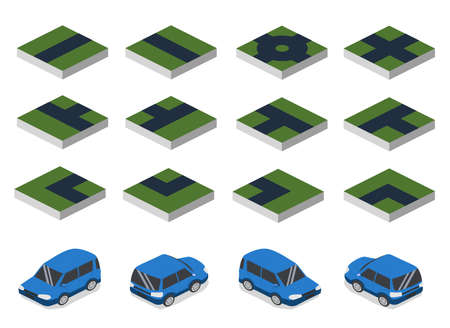 Isometric 3D vector illustration concept set collection road and car. Parts of the road and the machine in different angles