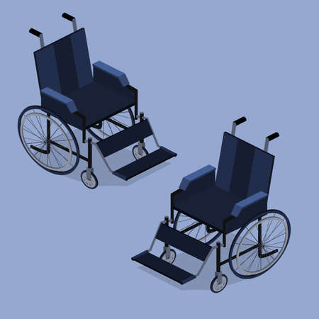 Isometric 3D vector illustration wheelchair without a person