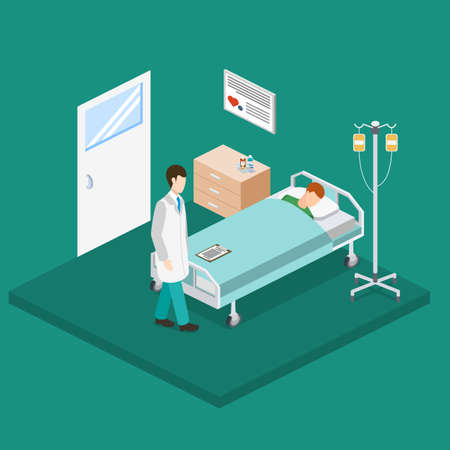 Isometric 3D vector illustration the interior of a hospital room with a patient and a doctor. Examination of the patient for the presence of disease.