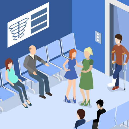 patients waiting for an elevator and waiting room for a doctor