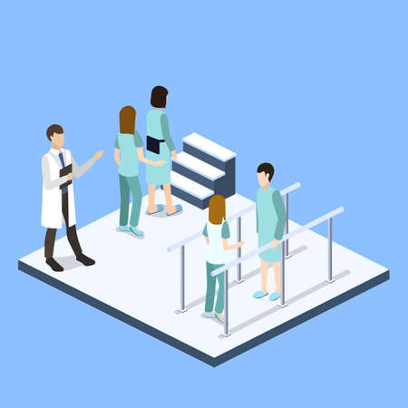 Isometric 3D vector illustration physical rehabilitation after fracture. Physiotherapist deals with treatment with a patient Illustration
