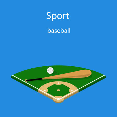 Isometric 3D vector illustration baseball field with a bat